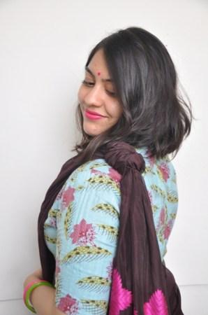 Tanisha Choudhury's knotted pallu