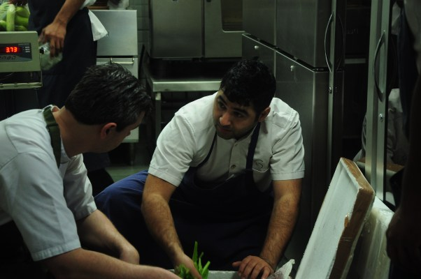 Chef Matt and chef Prateek brainstorming