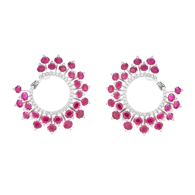 Diacolor earrings with rubies and diamonds in 18-carat white gold