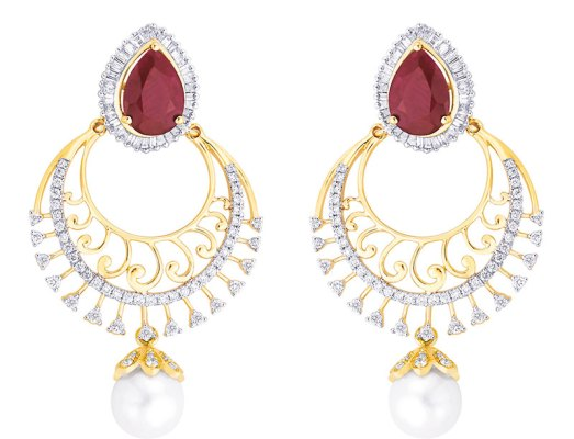 Diamond and ruby earrings with pearl drops, in 18-carat gold