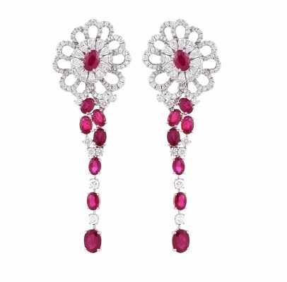 Earrings by DiaColor set with Gemfields Mozambican Rubies