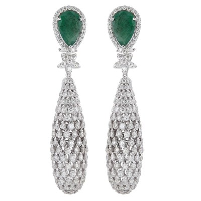 Earrings by Rosentiques set with Gemfields Zambian Emeralds