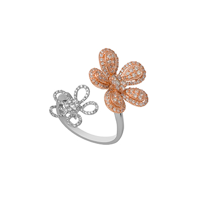 Entice ring with diamonds in white and rose gold