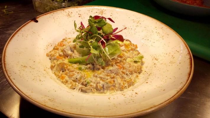 Farro Wheat Risotto Mushroom Leeks and Parmesan