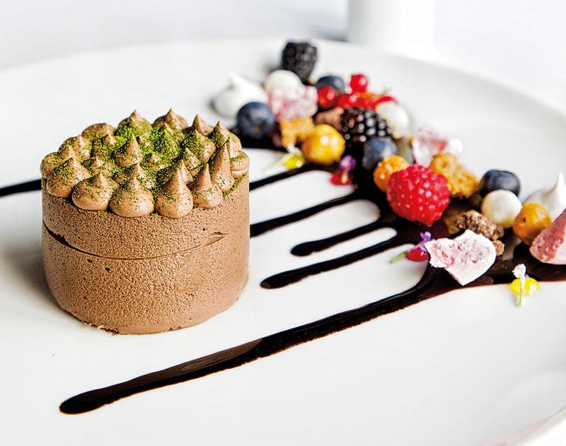 Single origin chocolate Fujiyama with green tea creme brulee insert, dehydrated berry meringue, Chef Ashish Ugal and Chef Rajesh Singh