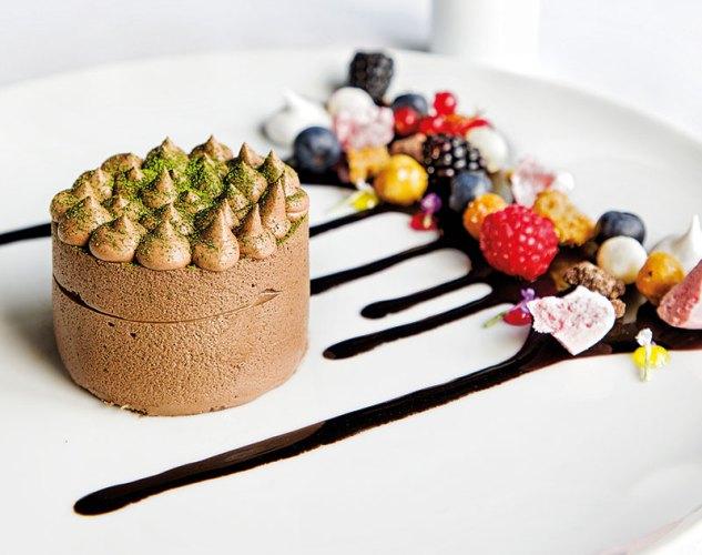 Single origin chocolate Fujiyama with green tea creme brulee insert, dehydrated berry meringue