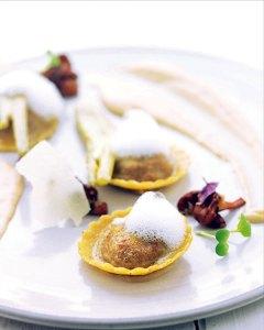 Ravioli...pumpkin, apple, sage, confit fennel, truffle, parmesan, chanterelles