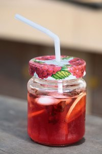 Strawberry hibiscus tea sparkler
