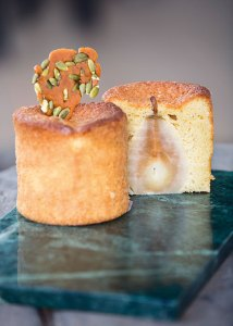 Whole bosc pear cake with star anise caramel