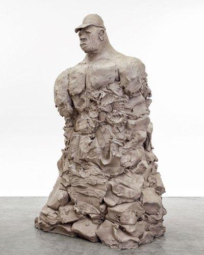 Urs Fischer, bro w/ hat, 2014, cast bronze, 71 in x 46 in x 36 in