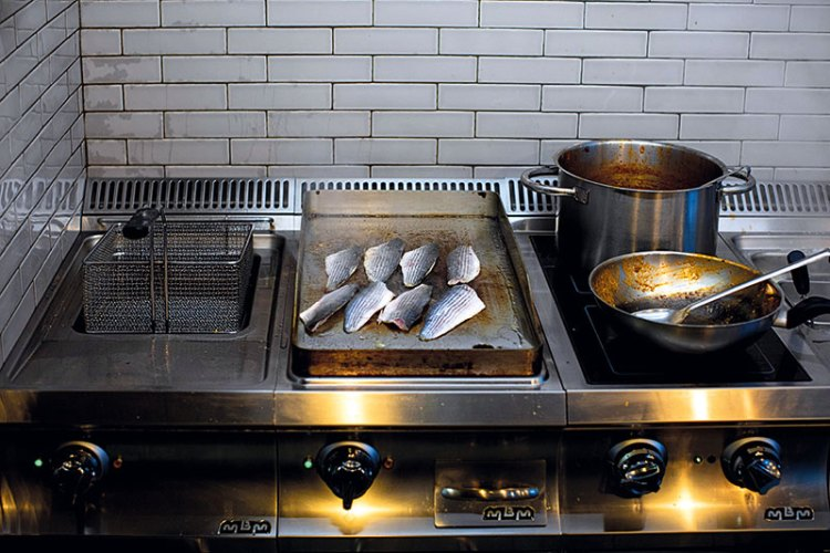 Fish being cooked on the grill