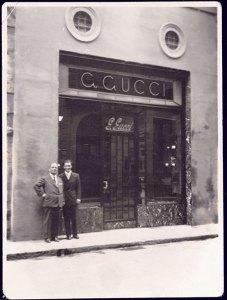 Guccio and Rodolfo Gucci at the Florence store