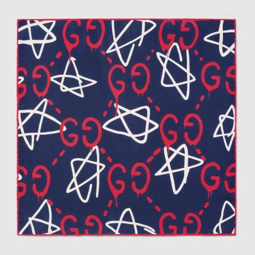 Gucci Ghost silk pocket square