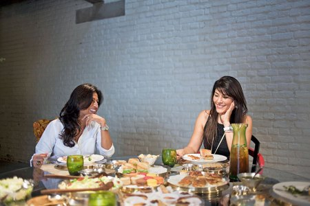 Deepshikha Khanna and Feroze Gujral: afternoon chatter over crunchy salad