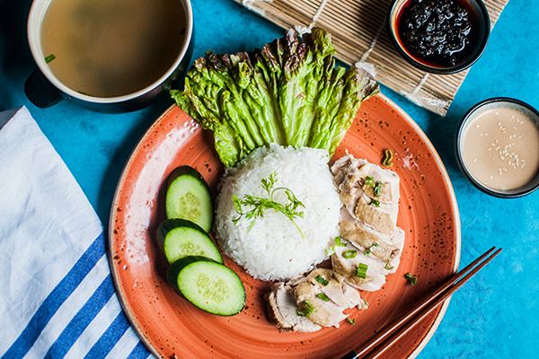 Hainanese chicken rice Singapore shophouse style