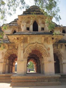 Lotus Mahal with its striking mix of Islamic and Hindu architecture