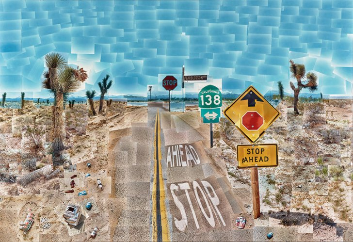 David Hockney, Pearblossom Hwy., 11 - 18th April 1986, #2, April 11-18, 1986, chromogenic prints mounted on paper honeycomb panel, 181.6 cm x 271.8 cm (71 1/2 in x 107 in)