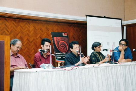 IAF Conversations: (L-R) Y D Pitkar, Kaiwan Mehta, Ranjit Hoskote, Smita and Mustansir Dalvi