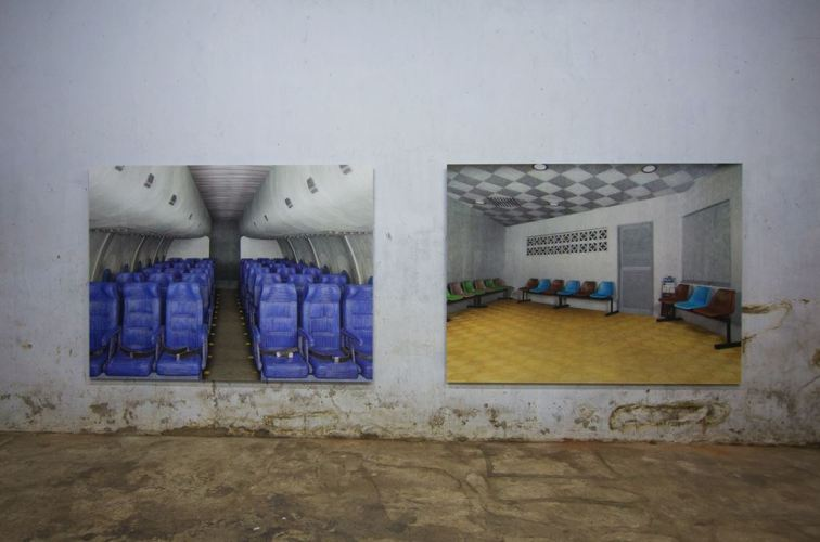 Left to right: Prints of Airplane and Waiting Room from Bhupal's Mind the Gap series, shown here at Anand Warehouse, Mattancherry