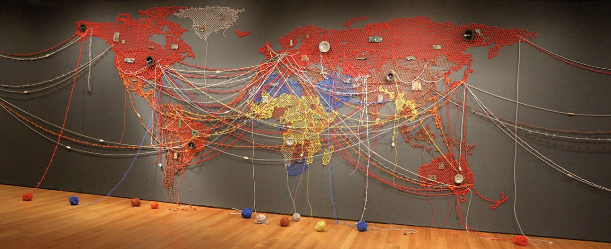 Woven Chronicle — 2, 2015, circuit boards, speakers, electrical wires and fittings, site-specific installation at the Museum of Modern Art, New York