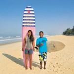 Surfer couple Ishita Malaviya and Tushar Pathiyan, The Shaka Surf Club, Karnataka