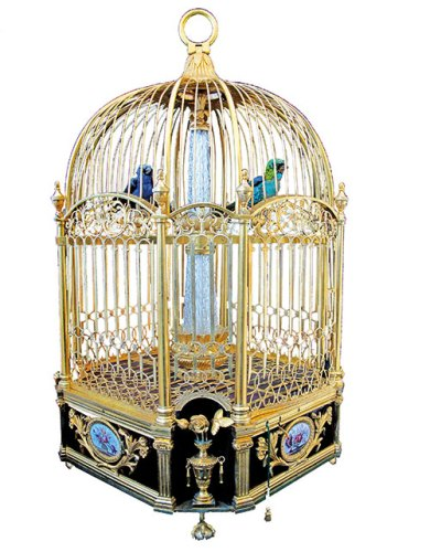 An antique singing birdcage