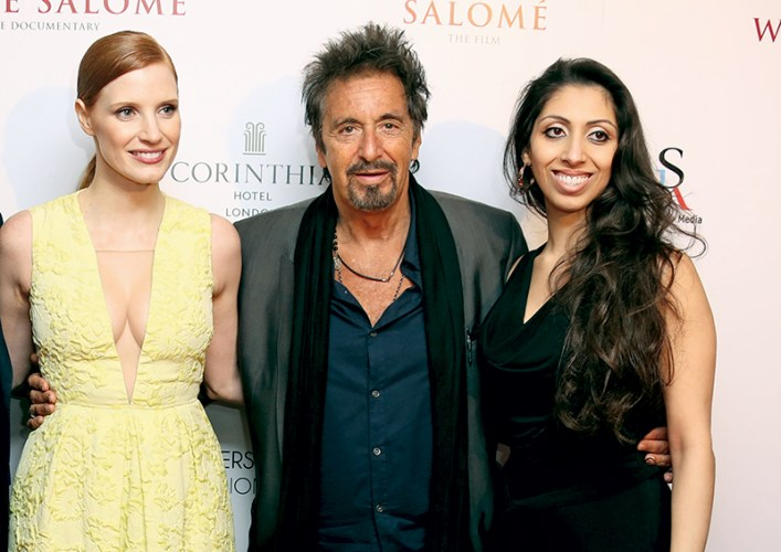 Jessica Chastain, Al Pacino, Natasha Mudhar at the London premier of the filmed version of Salomé