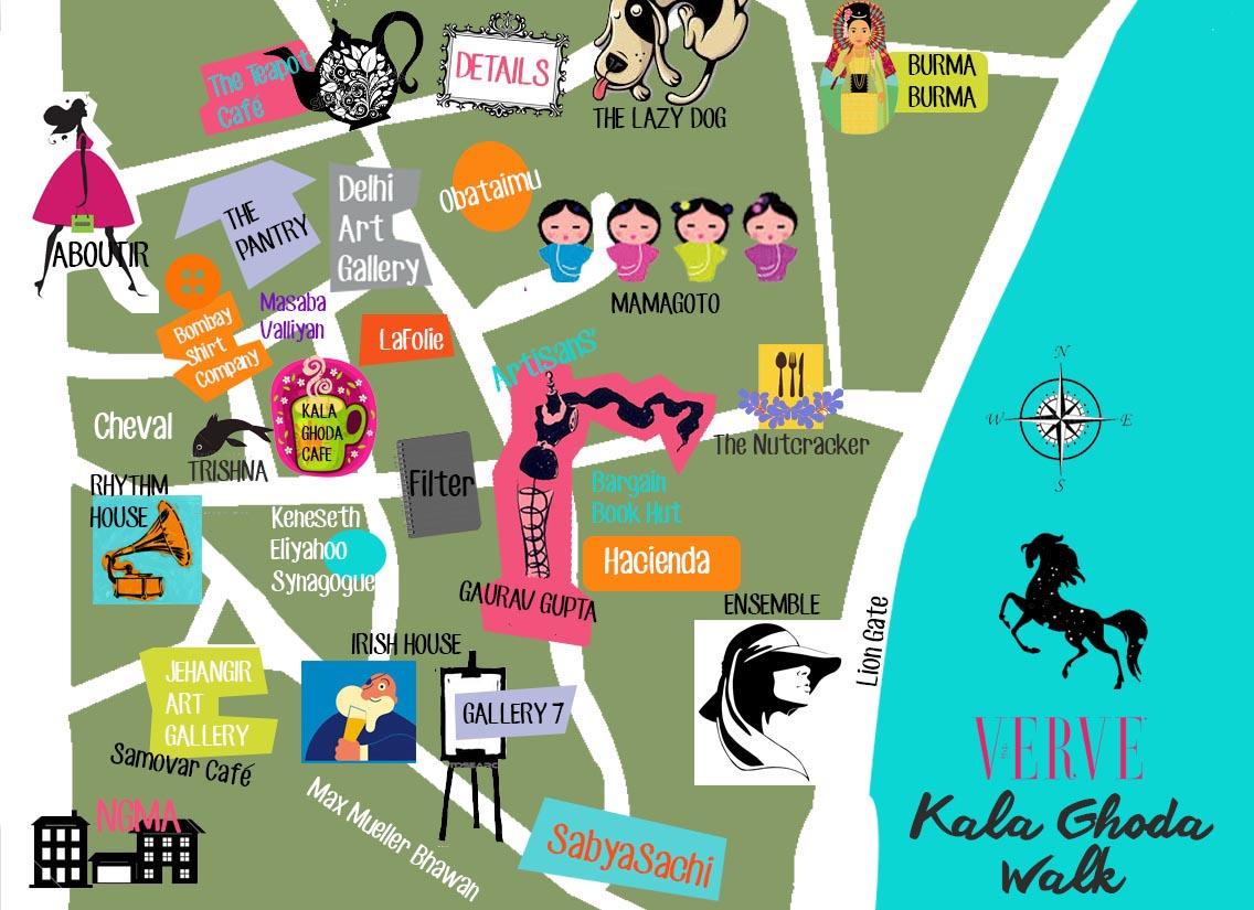 What to do in Kala Ghoda Map Places to eat shop drink gallery visit festival Cheval Irish House gallery 7 jehangir art gallery mamagoto kala ghoda cafe the pantry the nutcracker gaurav gupta ensemble aboutir irish house burma burma
