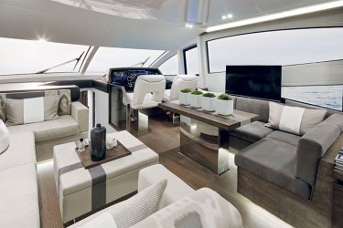 Luxurious interiors of a yacht