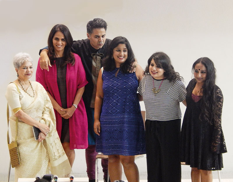 Laila Tyabji, Anita Dongre, Parmesh Shahani, Nisha Susan, Mallika Dua, Sharanya Manivannan at the LFW event on the Godrej India Culture Lab premises, Parmesh Shahani, Parmesh's Viewfinder