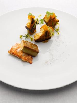 Local lobster and foie gras, apricot brioche with vanilla black pepper beurre blanc