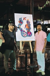 Lokesh and Sameer from 100% ZINE at the 100% LOCAL exhibit