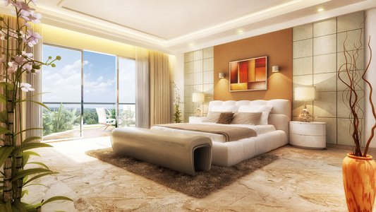 The elegant space of the sprawling bedroom