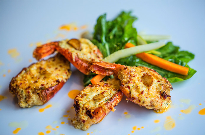 Baked prawn with Thai-infused oil