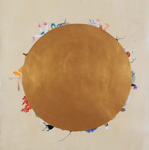 Manjunath Kamath, In between, 2015, gold powder, gouache and watercolour on tea-stained paper, 60 x 66 inches