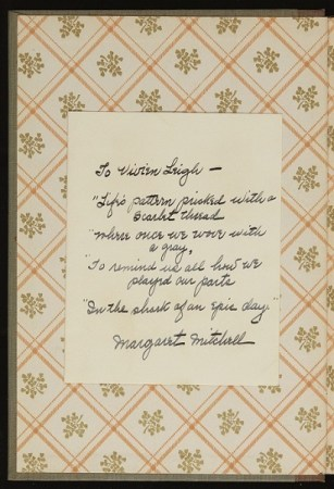Margaret Mitchell, Gone with the Wind, poem inscription