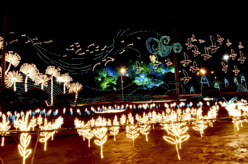 Light displays along the Medellín River