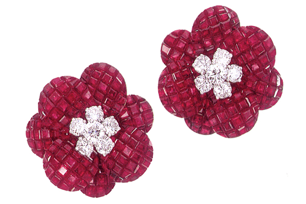 Minawala earrings crafted in white gold, diamonds and rubies.
