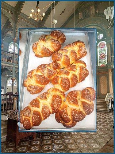 Synagogue interior and Challah