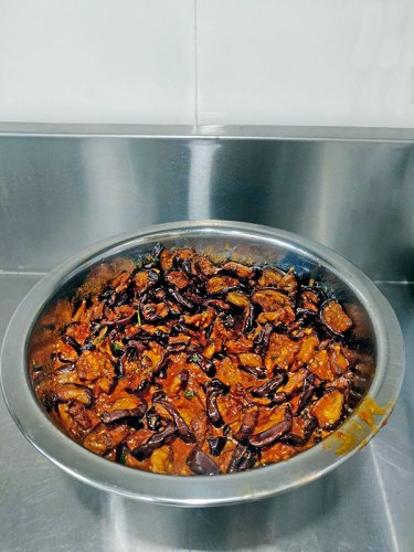 Baingan (eggplant) seasoned with leftover Hamim Masala
