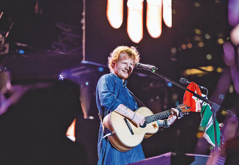 Ed Sheeran performing at the Mahalaxmi Race Course in Mumbai