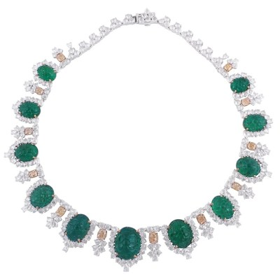 Necklace by Gem Plaza, Jaipur set with Gemfields Zambian Emeralds