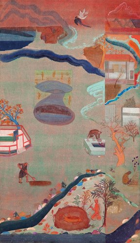 Nilima Sheikh, A Pastoral, 2003, mixed tempera on wasli paper, 70 x 40 cm