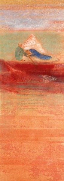 Nilima Sheikh, The Last Saffron, 2007, tempera on Nepali paper, 57 x 20 in