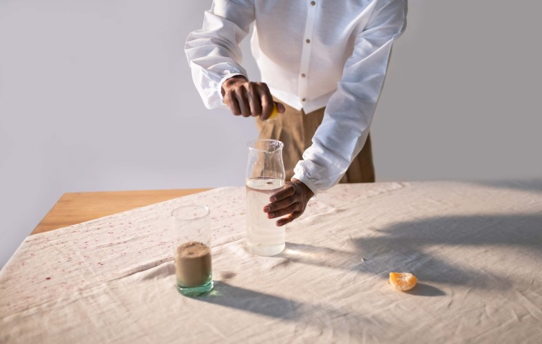 Eco-friendly dyed tablecloth