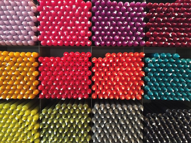 Coloured candles at Cire Trudon