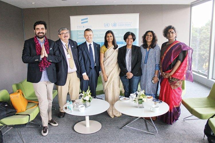 Left to right: Keshav Suri, Salil Tripathi, Fabrice Houdart, Nandita Das, Radhika Piramal, Meenakshi Ganguly and Gauri Sawant at the launch of the UN charter