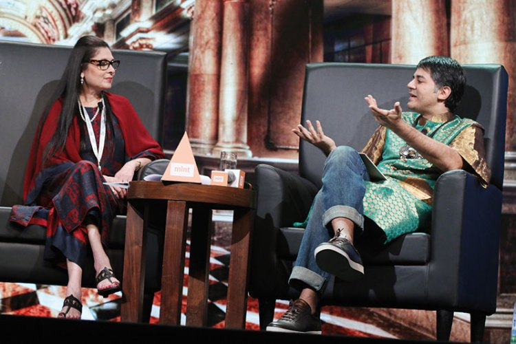 Anuradha Mahindra and Parmesh Shahani on stage at the Mint Luxury Conference