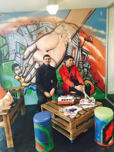 Parmesh Shahani with Marlon Parker at one of his youth cafes in Cape Town