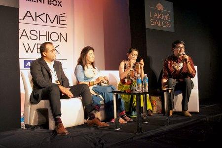 Gaurav Mahajan, Ritu Kumar, Sangita Kathiwada and Parmesh Shahani at Lakmé Fashion Week's Textile Panel Discussion